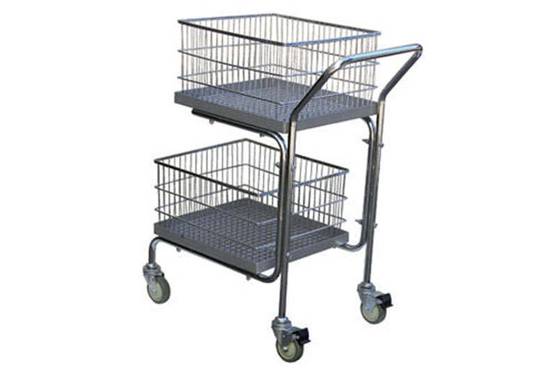 Double Tray & Double Basket Mail Cart